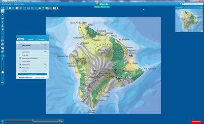 Die differenzierte Karte Hawaii - Vulkaninsel im Diercke Atlas digital analysieren